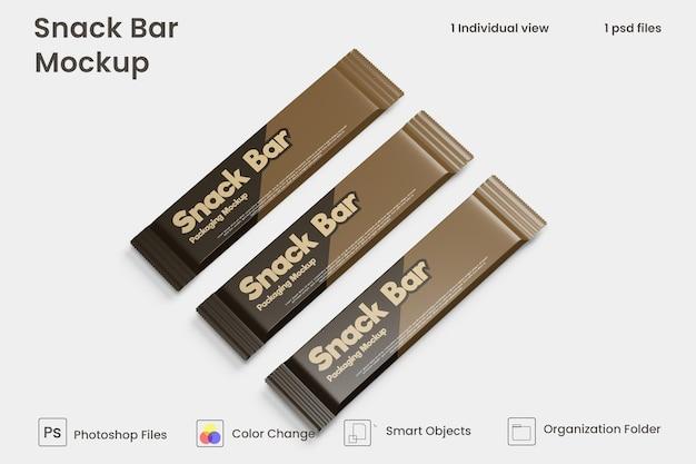 Maqueta de empaque de barra de bocadillos de chocolate premium psd