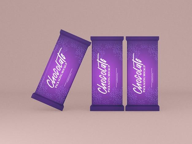 Maqueta de empaque de barra de chocolate