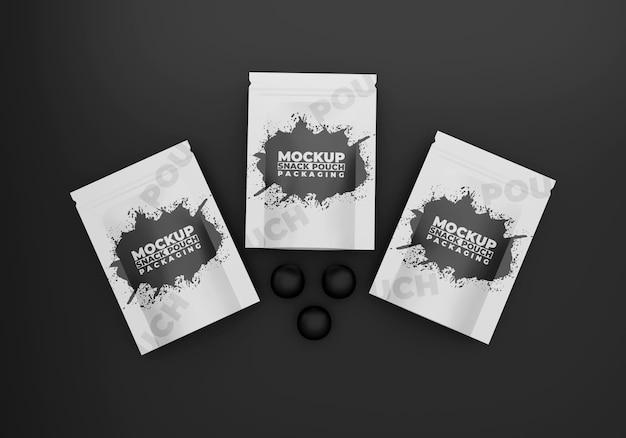 Maqueta de empaque de bocadillos negros