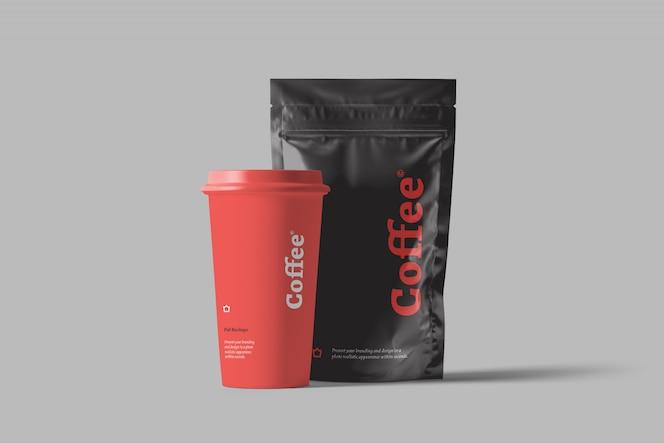 Maqueta de empaque de bolsa de café