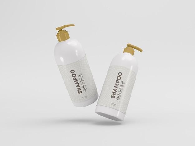 Maqueta de empaque de botella de bomba de champú