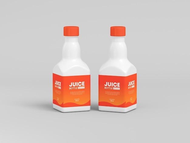 Maqueta de empaque de botella de jugo