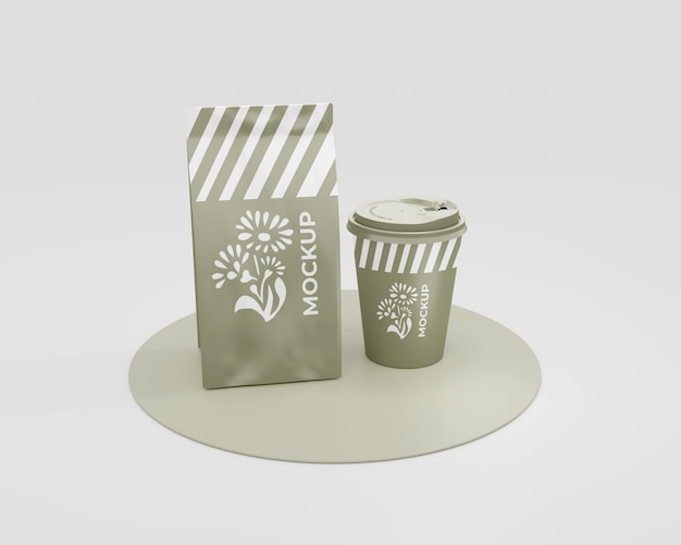Maqueta de empaque para una cafetería.