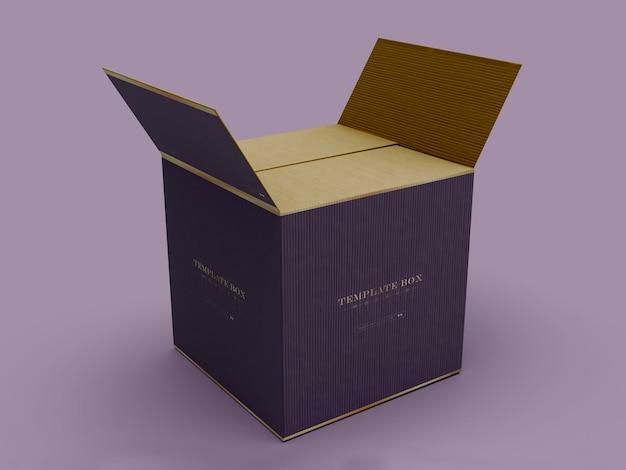 Maqueta de empaque de caja cuadrada