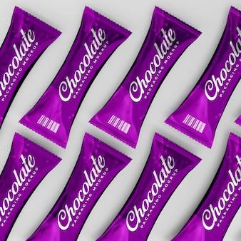 Maqueta de empaque de chocolate brillante realista 3d