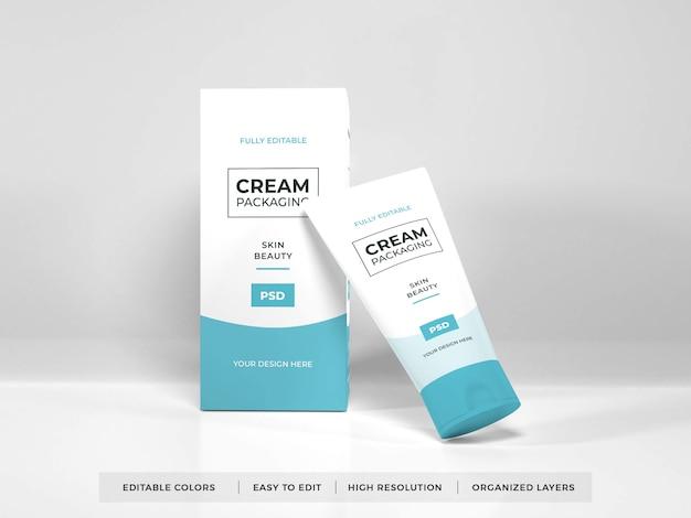 Maqueta de empaque de crema cosmética realista