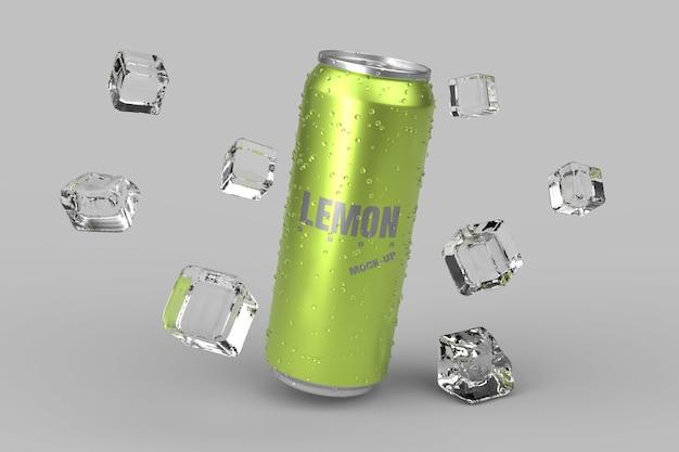 Maqueta de empaque de lata fría de refresco de limón render 3d