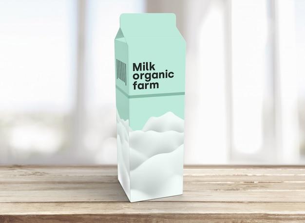 Maqueta de empaque de leche