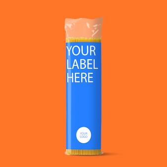Maqueta de empaque de productos de fideos psd gratis
