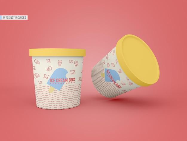 Maqueta de empaque de tarro de helado