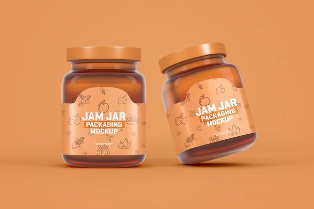 Maqueta de empaque de tarro de mermelada de vidrio