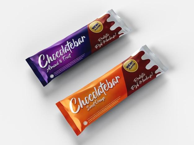 Maqueta de empaquetado brillante realista de dos barras de chocolate snack brillante