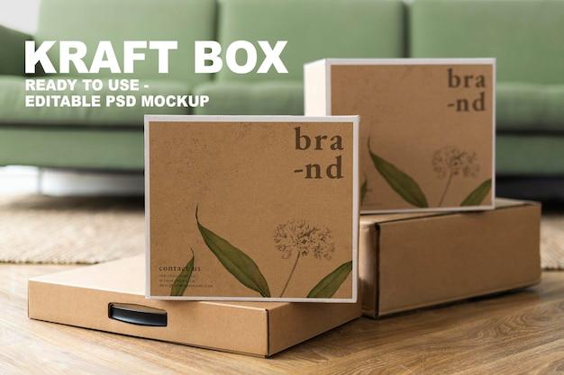 Maqueta de empaquetado de cajas kraft psd para entrega de marcas orgánicas con espacio de diseño