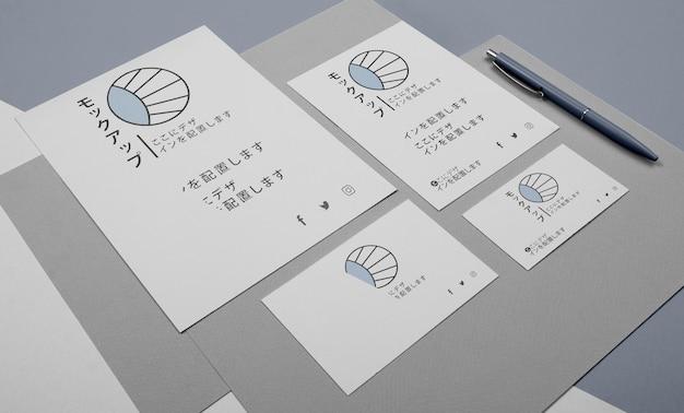 Maqueta para empresa asiática en documentos.