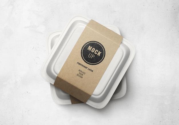 Maqueta de entrega de caja de comida rápida realista