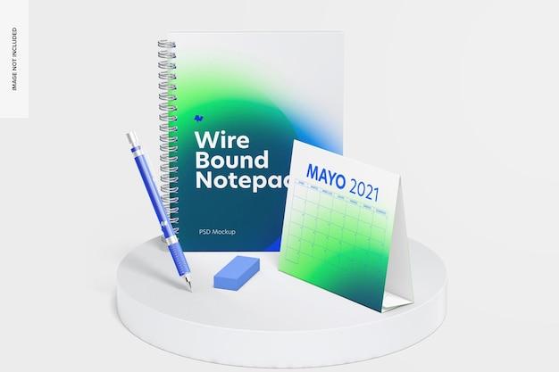 Maqueta de escena de bloc de notas con alambre, vista frontal