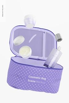 Maqueta de escena de bolsa de cosméticos, flotante