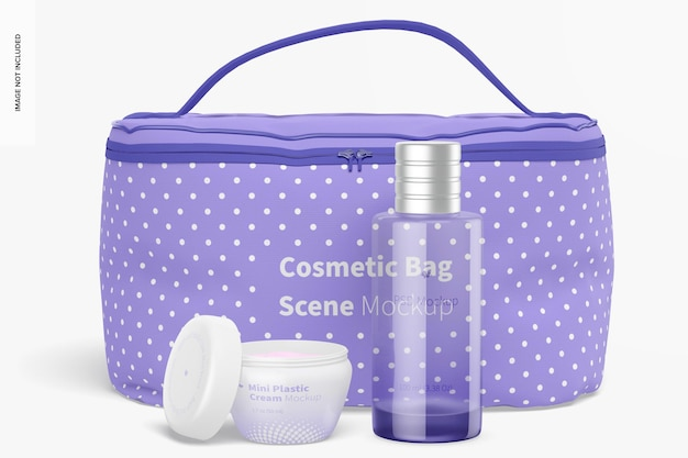 Maqueta de escena de bolsa de cosméticos