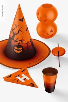 Maqueta de escena de fiesta de halloween, perspectiva