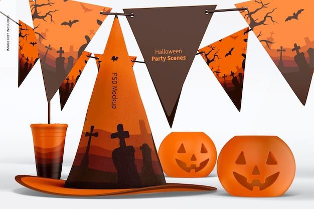 Maqueta de escena de fiesta de halloween, vista frontal 02