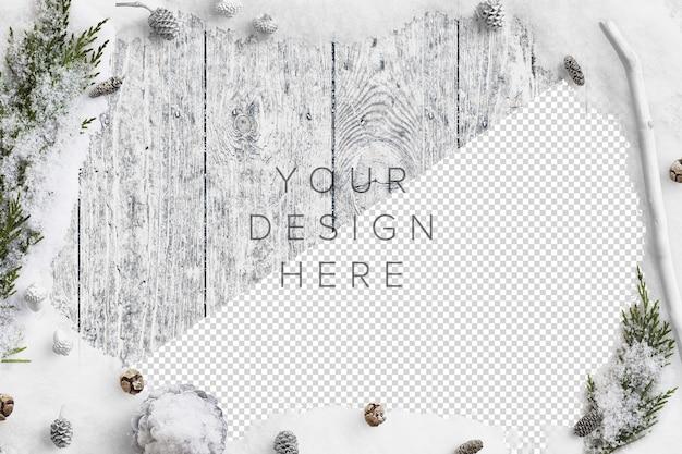 Maqueta de escena de naturaleza de invierno frío con nieve, ramas de abeto, piñas y bellotas