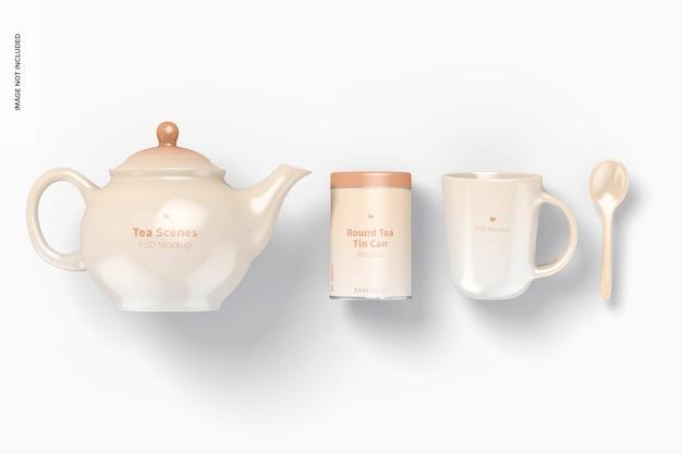 Maqueta de escena de té, vista superior