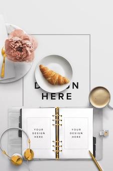 Maqueta de escritorio con agenda y desayuno.