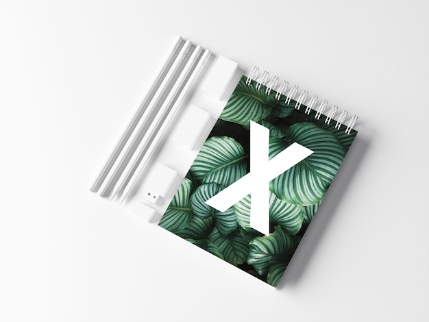 Maqueta de escritorio de bloc de notas