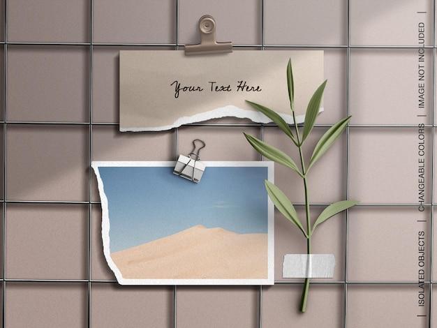 Maqueta de escritorio de estado de ánimo con collage de tarjeta de marco de foto rasgado