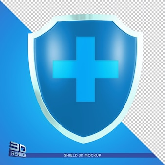 Maqueta de escudo para evento o cartel de salud representación 3d