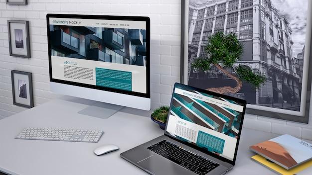 Maqueta de espacio de trabajo con ordenador