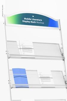 Maqueta de estante de exhibición de literatura móvil, primer plano