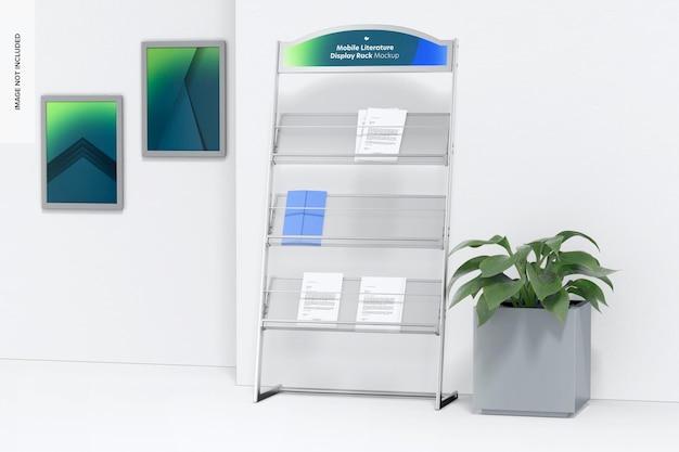 Maqueta de estante de exhibición de literatura móvil, vista derecha