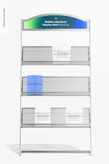 Maqueta de estante de exhibición de literatura móvil, vista frontal