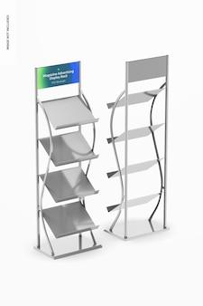 Maqueta de estante de exhibición de publicidad de revista, vista frontal y posterior