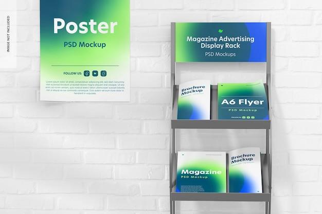 Maqueta de estante de exhibición de publicidad de revista, vista frontal