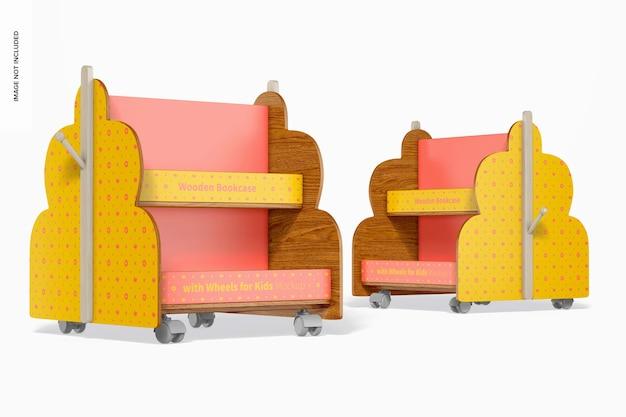 Maqueta de estanterías de madera con ruedas para niños
