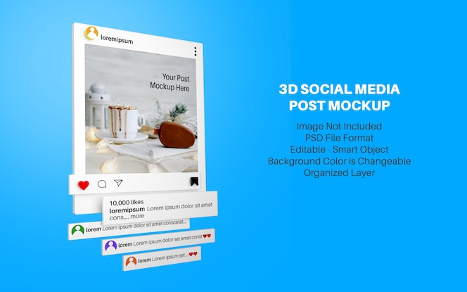 Maqueta de estilo 3d para publicación en redes sociales de instagram