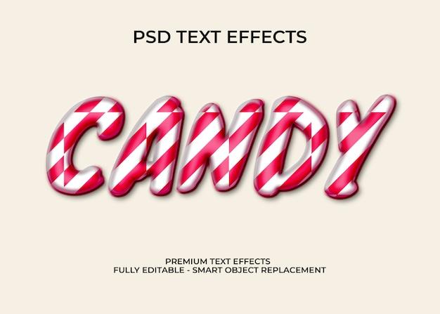 Maqueta de estilo de texto de caramelo 3d