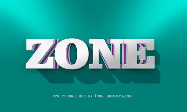 Maqueta de estilo de texto de zona 3d