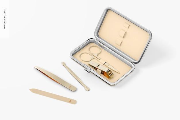 Maqueta de estuche de juego de manicura, abierto