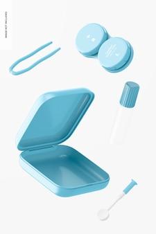 Maqueta de estuche de lentes de contacto, flotante