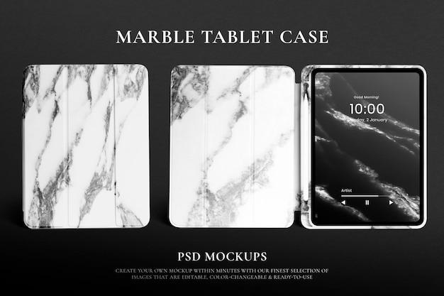Maqueta de estuche para tableta psd con publicidad editable de diseño de mármol