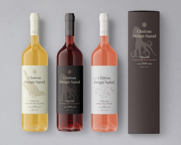 Maqueta de etiqueta de botella de vino