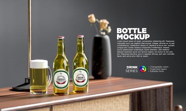 Maqueta de etiqueta de botellas de cerveza con taza en escena 3d