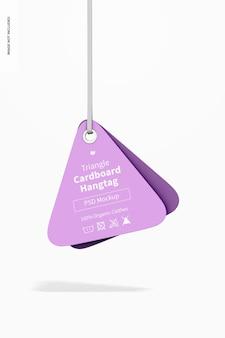 Maqueta de etiqueta colgante de cartón triangular, colgante
