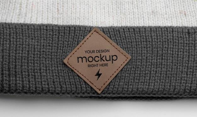Maqueta de etiqueta de sombrero de lana