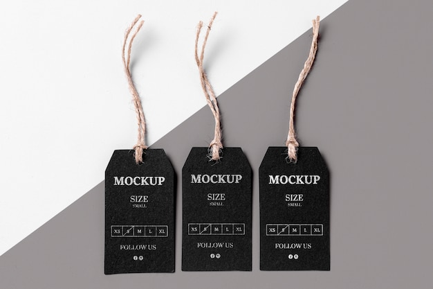 Maqueta de etiqueta de talla negra de ropa