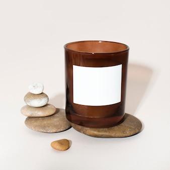Maqueta de etiqueta de tarro de vela embalaje de producto de bienestar psd