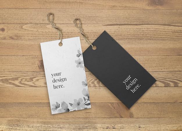 Maqueta de etiquetas en blanco y negro con tira de yute